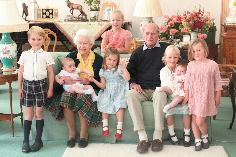 Queen Elizabeth II and the Duke of Edinburgh pose with their great grandchildren, Balmoral Castle, UK