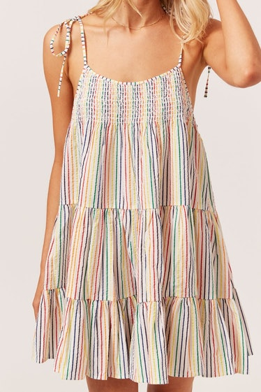 The Parker Dress in Rainbow Pinstripe