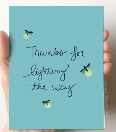 "DebbieDrawsFunny ""Thanks for Lighting the Way"" Card"