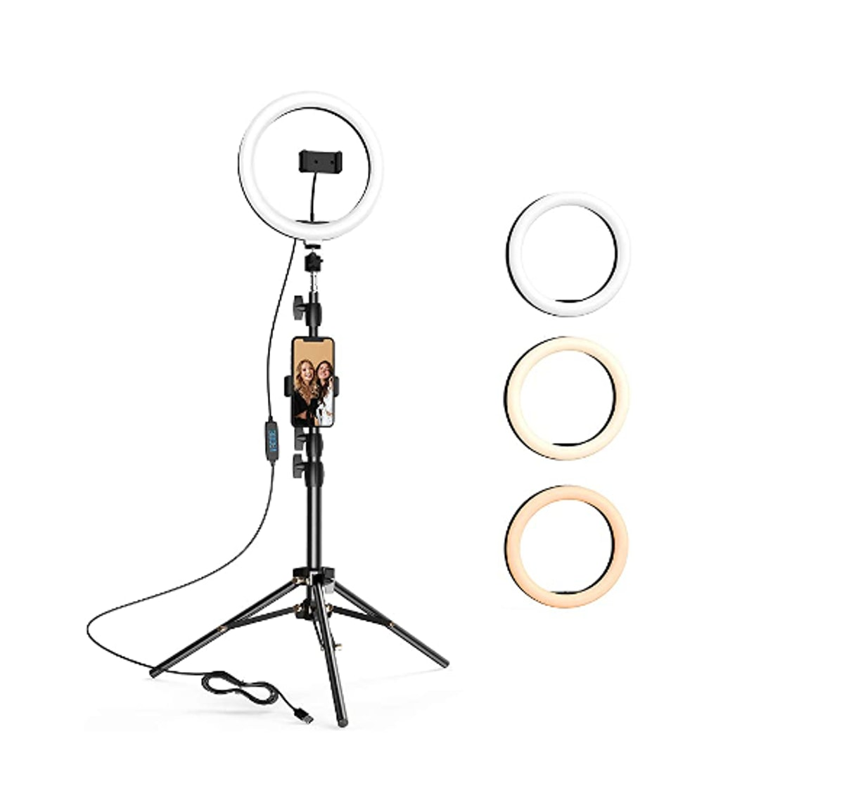 LETSCOM 10.2 inch Selfie Ring Light with Tripod Stand