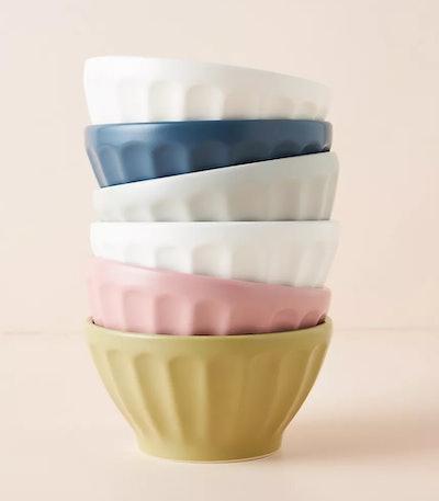 Matte Latte Bowls, Set of 6 in Sea Breeze