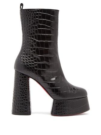 Izamayeah 130 Crocodile-Effect Leather Boots