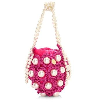 Mini Hana Faux Pearl Woven Top Handle Bag