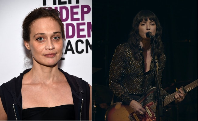 A collage of Fiona Apple (left) and Sharon Van Etten (right). Apple has her hair pulled back and is standing in front of a step and repeat. Van Etten is seen performing on stage with her guitar and singing into the mic.
