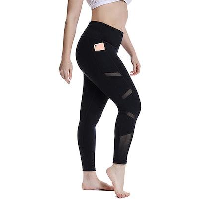 YOHOYOHA Plus-Size Mesh Workout Leggings
