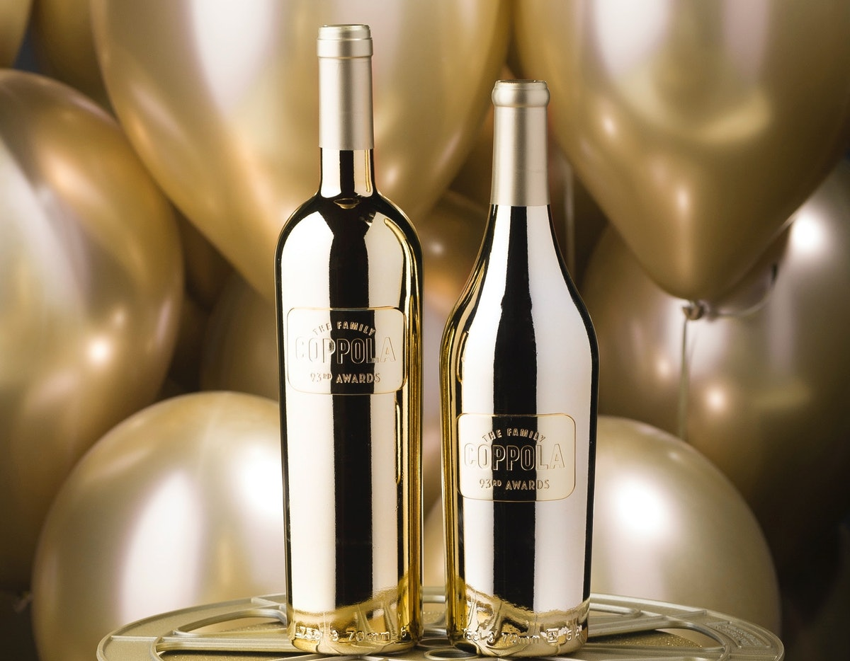 Coppola's awards season gold wine bottles for the 2021 Oscars were created in partnership with the A...