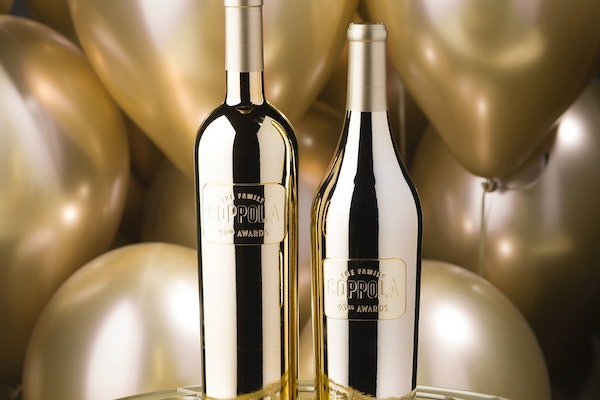 Coppola's awards season gold wine bottles for the 2021 Oscars were created in partnership with the Academy Awards.