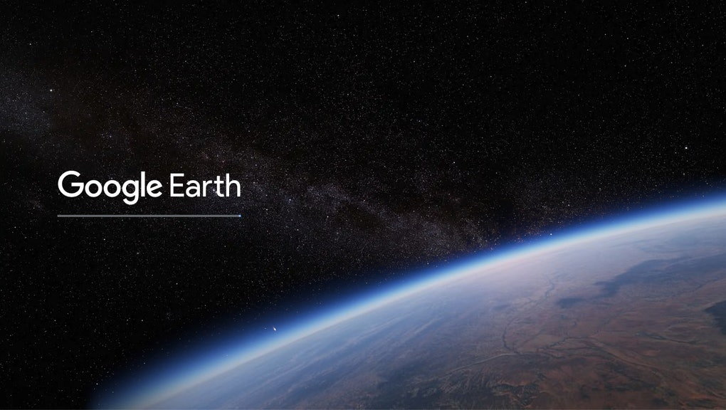 An image of the surface of Earth from space with the text 'Google Earth'