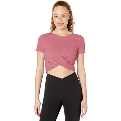Core 10 Pima Cotton Blend Knot Front Yoga T-Shirt