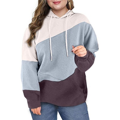 Eytino Plus Size Striped Pullover Hoodie