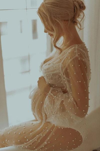 Pearl Sheer Maternity Robe