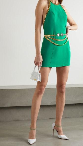 Chain-embellished crepe halterneck mini dress