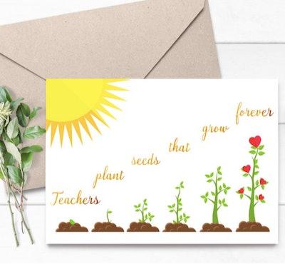 MattyAndMillie Teachers Plant Seeds Card