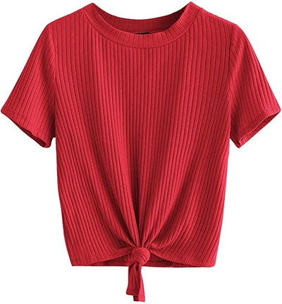 Romwe Knot-Front Ribbed T-Shirt
