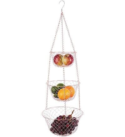 Fox Run 3-Tier Copper Kitchen Hanging Fruit Basket