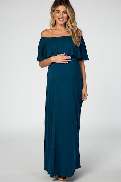 Off Shoulder Maxi Maternity Dress