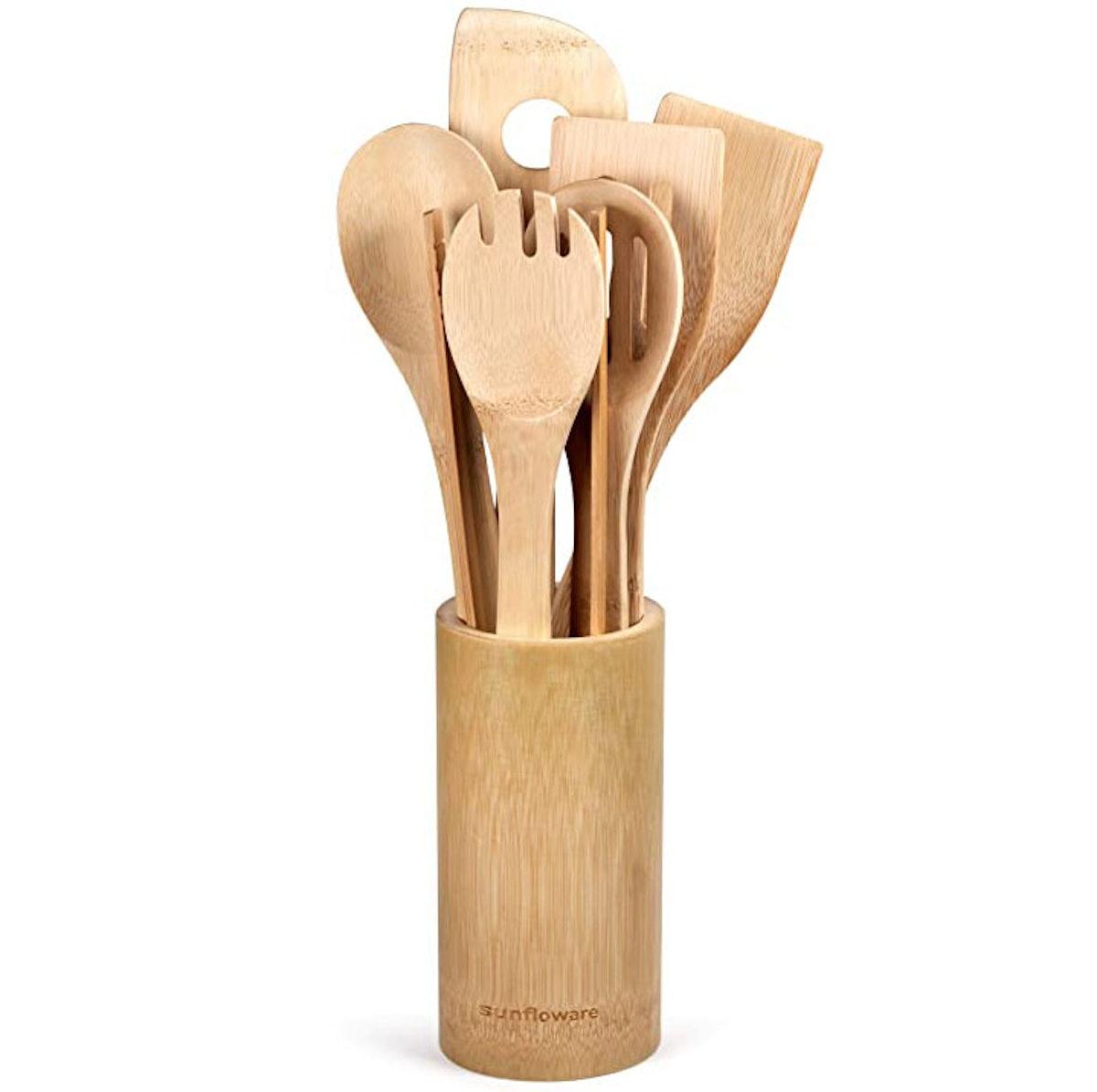 Sunfloware Wooden Bamboo Cooking Utensils Set (8pcs)