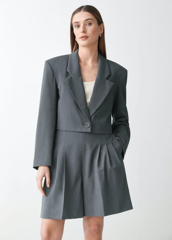 Boxy Padded Shoulder Wool Blazer