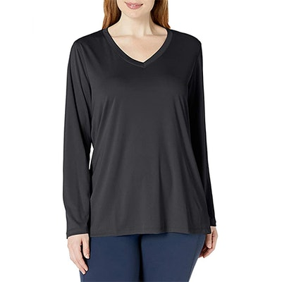 JUST MY SIZE Plus Size Active Cooldri Long Sleeve V-Neck Tee