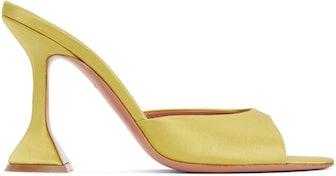 Yellow Satin Caroline Heeled Sandals