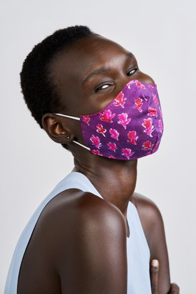 Impower by Prabal Gurung Reversible Face Mask in Purple Red Floral Print