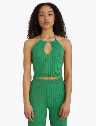Ribbed Knitted Halter Top