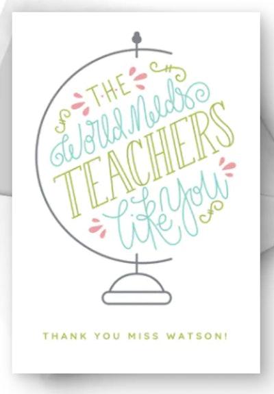 World Needs Teachers Like You Card