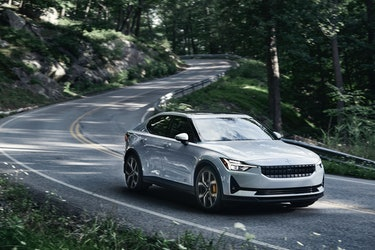 Polestar 2 on a country roads.