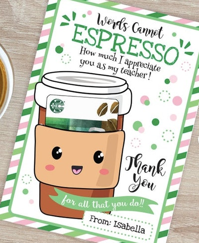 CLOVEemporium Printable Coffee Gift Card