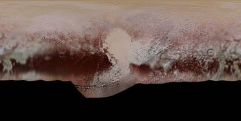 This new, detailed global mosaic color map of Pluto is based on a series of three color filter images obtained by the Ralph/Multispectral Visual Imaging Camera aboard New Horizons during the NASA spacecraft's close flyby of Pluto in July 2015.