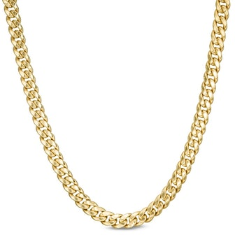 """Made in Italy Hollow 6.2mm Cuban Curb Chain Necklace in 10K Gold - 20"""""""