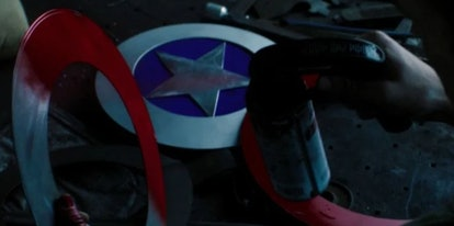 John Walker making a new Captain America shield in the end credits scene of 'Falcon and the Winter Soldier' Episode 5