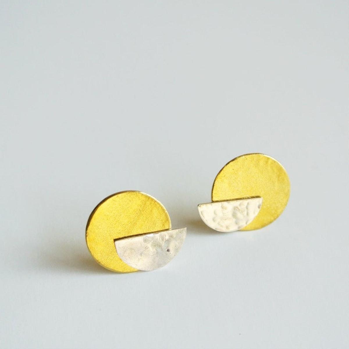 Half Moon Sterling Silver Stud with Gold Brass Disc Ear Jacket Earring - Art Deco