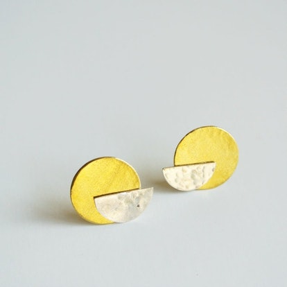 Half Moon Sterling Silver Stud with Gold Brass Disc Ear Jacket Earring - Art Deco