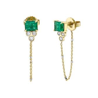 Emerald Triple Twinkle Chain Earrings