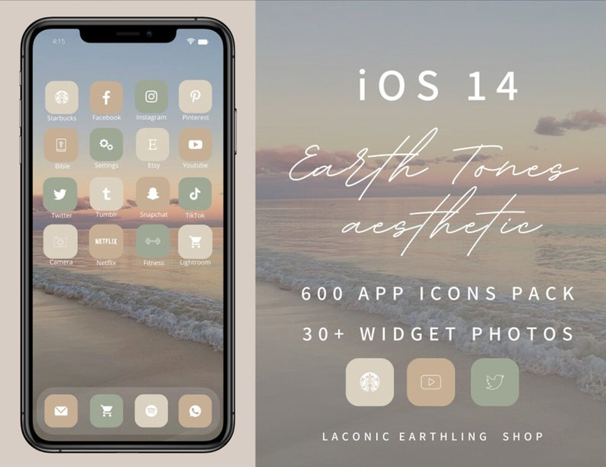 iOS 14 Earth Tones Neutral Aesthetic 600 App Icons Pack — LaconicEarthlingShop