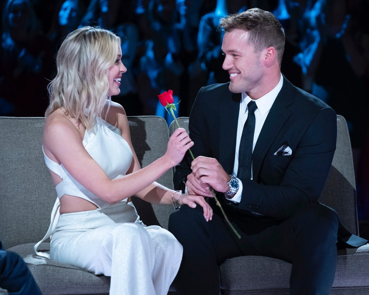 Cassie Randolph and Colton Underwood in the season finale of The Bachelor.