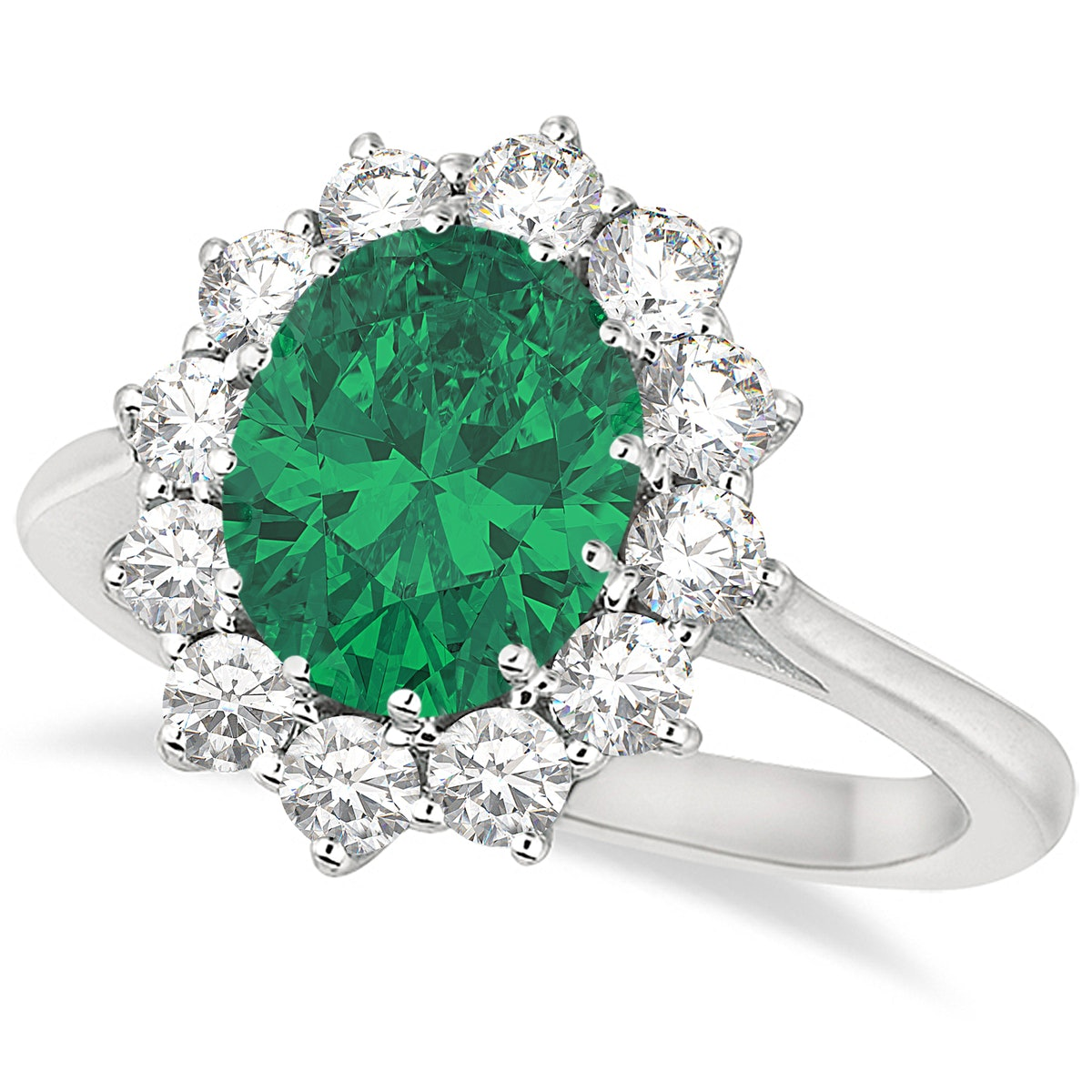Oval Emerald And Diamond Ring 14K White Gold