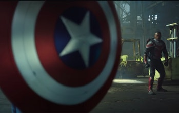 Captain America shield and Sam Wilson in The Falcon and the Winter Soldier Episode 5