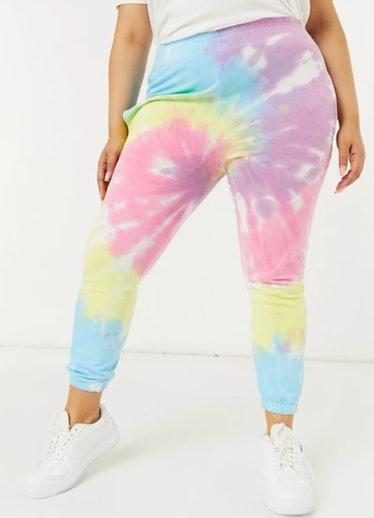 Daisy Street Plus sweatpants in pastel tie dye