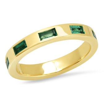 Stationary Emerald Baguette Ring