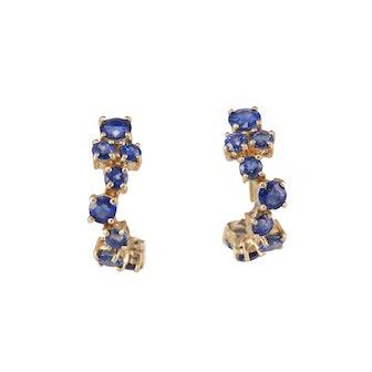 Sapphire Cluster Hoop Earrings