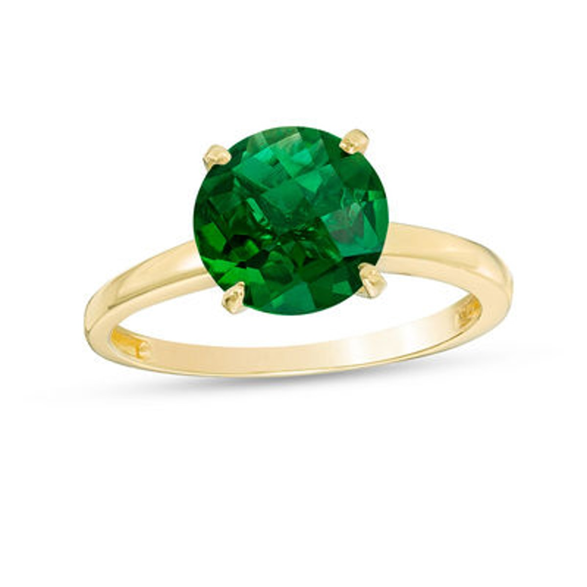 8.0mm Lab-Created Emerald Solitaire Ring in 10K Gold