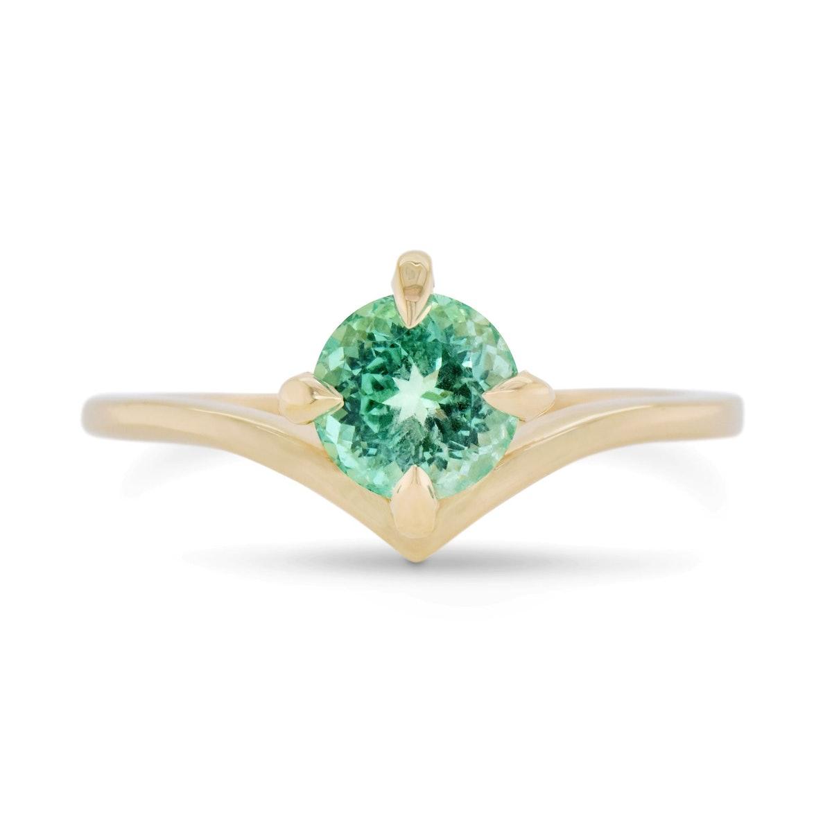 0.84ct Super Nova Russian Emerald Engagement Ring