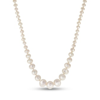 3.0-8.0mm Baroque Cultured Freshwater Pearl Graduated Strand Necklace with Sterling Silver Filigree Clasp