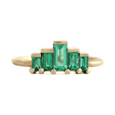 Baguette Cut Emeralds Engagement Ring