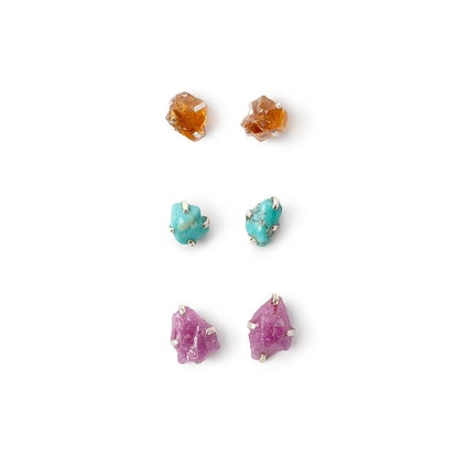 Raw Birthstone Studs