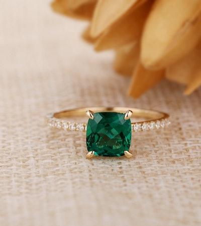 Cushion Cut Lab Created Emerald Ring