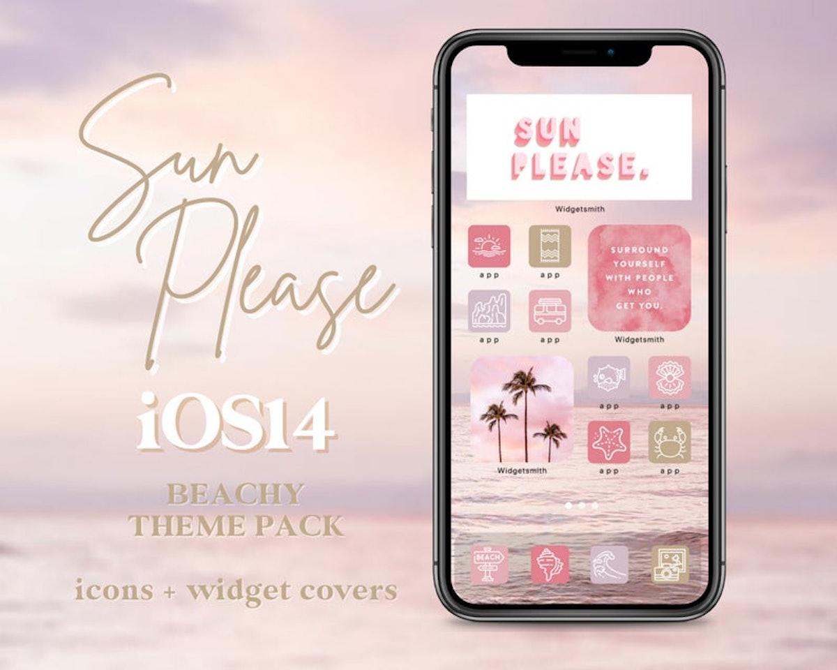 Sun Please Beach Summer Pink Ocean App Icons iOS 14 Icon Pack — DressMyTech