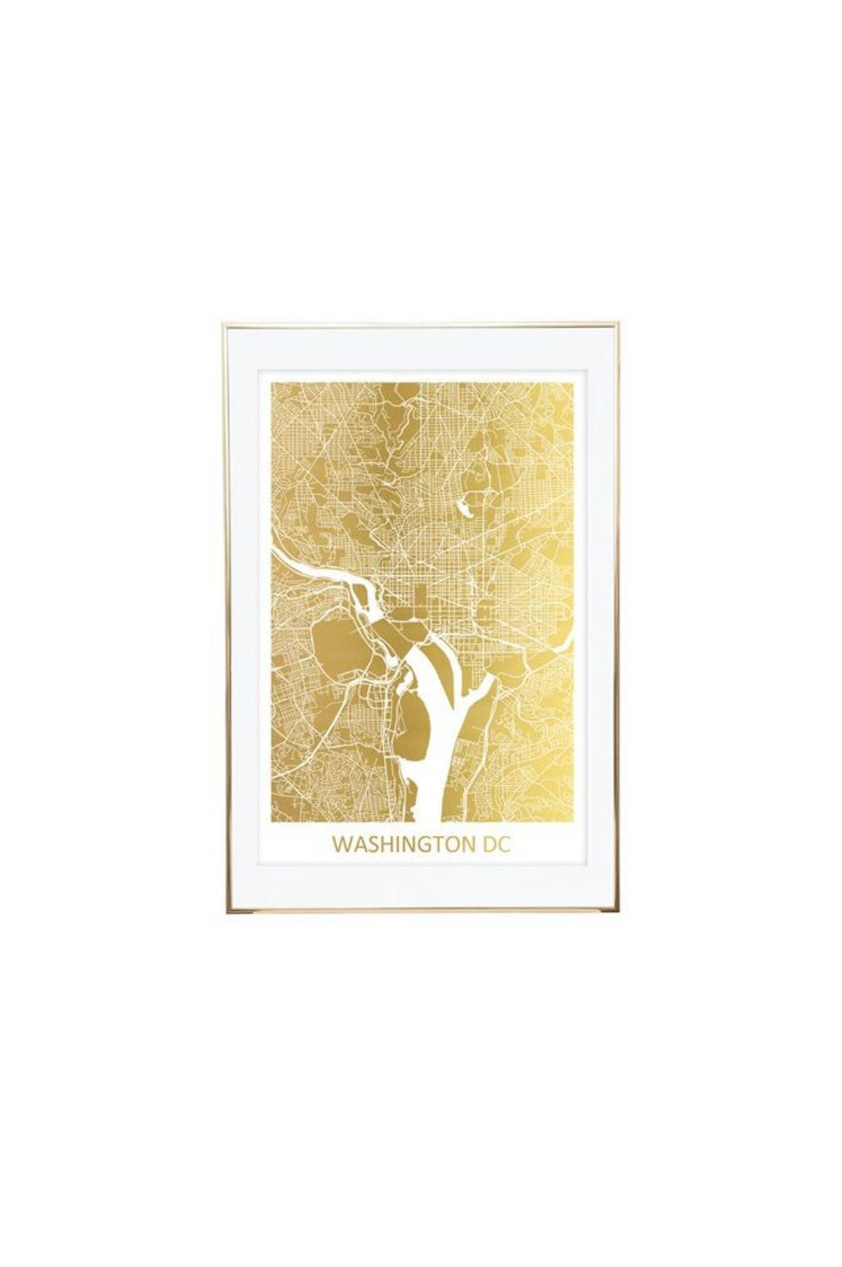 U.S. City Gold Foil Custom Line Map —  PatrinasPaperie